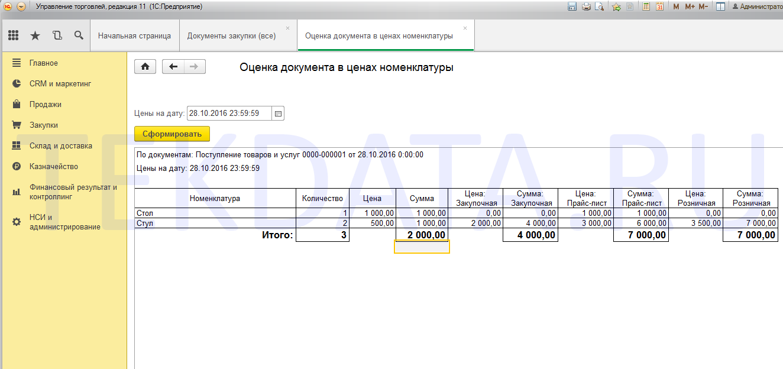 Оценка документа в ценах номенклатуры УТ 11.2, УТ 11.3 (внешняя печатная форма)