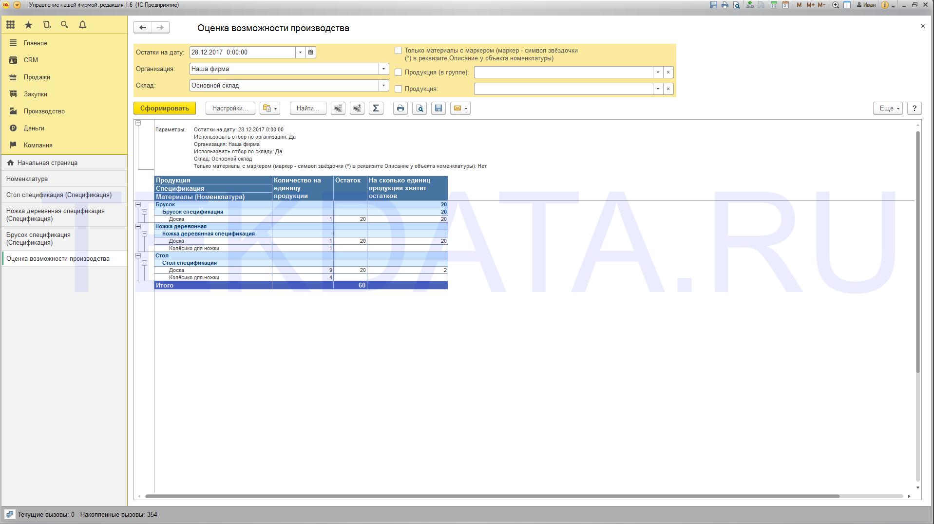 Оценка возможности производства для 1С: УНФ 1.6 (внешний отчет)