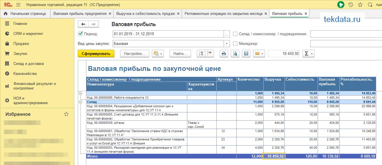 Валовая прибыль по закупочной цене в 1С:УТ 11.4 (Внешний отчет)