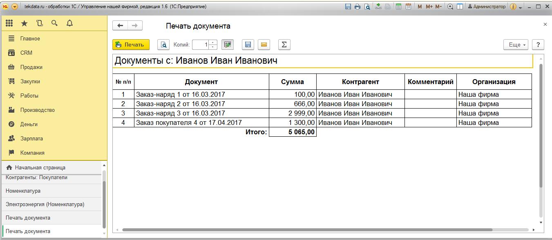 Все документы по контрагенту и по номенклатуре для УНФ 1.6 (внешняя печатная форма)